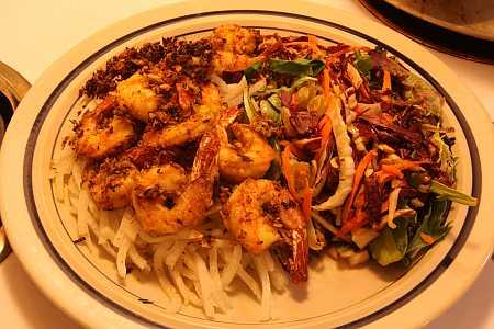 coconut shrimp and salad