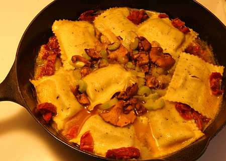 raviolis and chanterelles
